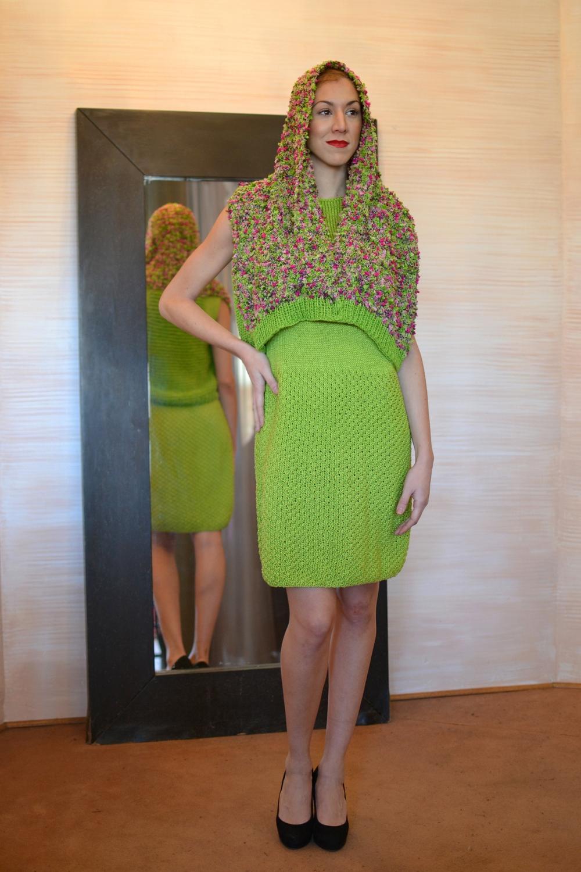 LOOK 5 • garden knitted vest• lime sleeveless knitted dress