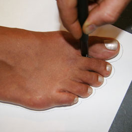 To get an accurate tracing, your partner needs to kneel down in front of you to mark the front part of your foot, and then must come around and kneel behind you to trace your heel side.   REALLY IMPORTANT: Put a mark between big toe and second toe.