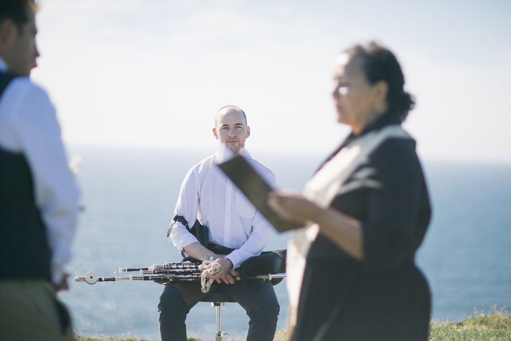 Uilleann pipes for a civil ceremony wedding at the Cliffs of Moher, Clare.