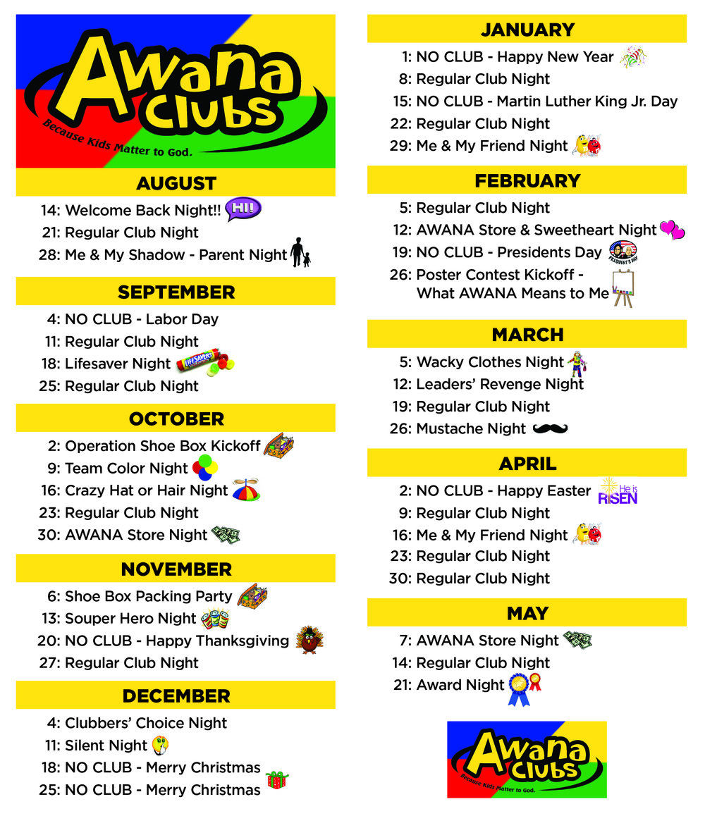 Click on the AWANA calendar above to open in a new window and print/download.