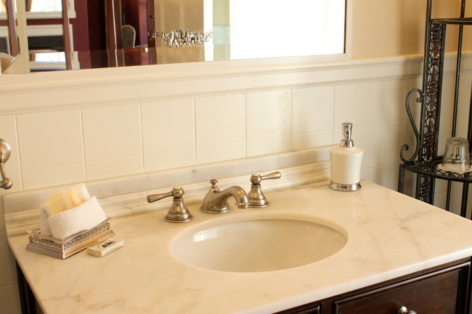 Marble sink in guest room 4 at the willard street inn in burlington, Vt.