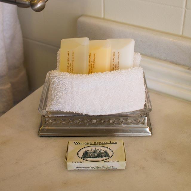Luxurious amenities on Marble vanity of Champlain Lookout at Willard Street Inn.