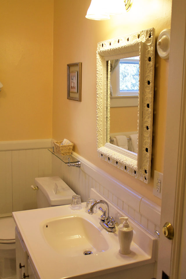 Private Bathroom with Tub/Shower located across the hall of Room 6 at the Willard St Inn, Vermont.
