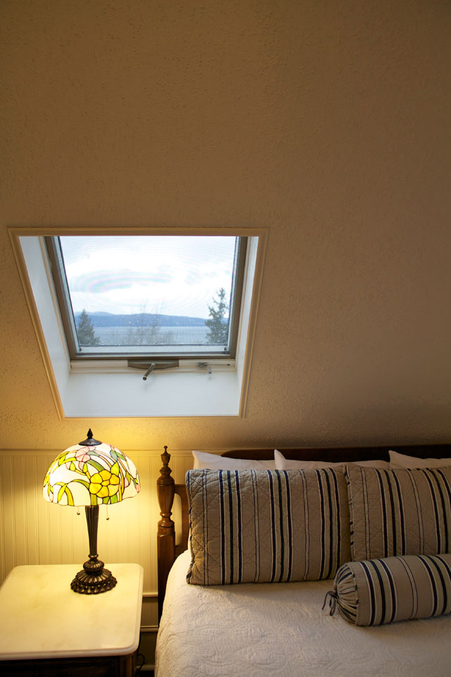 Views of Lake Champlain and Adirondacks From a skylight in Room 10 at Burlington, Vermont's Willard Street Inn