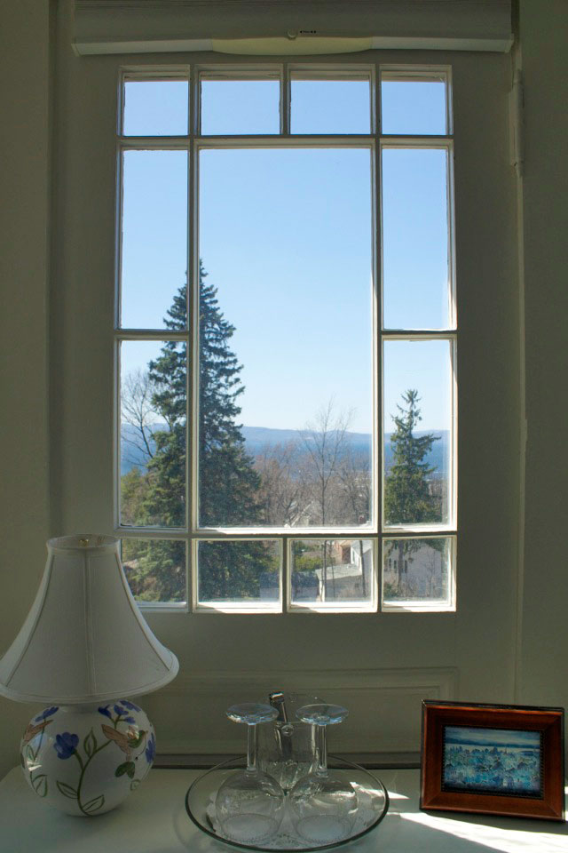View of Lake Champlain from the Tower Room at the WIllard Street Inn in Burlington, VT