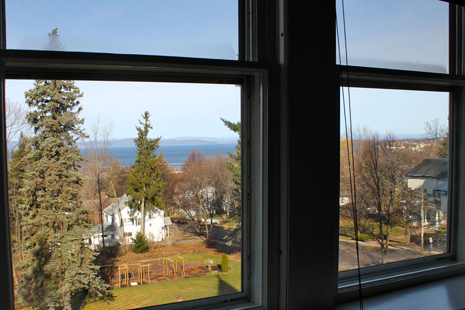View of Lake champlain and the Vegetable gardens from the adirondacks room at the willard Street Inn in Burlington, VT