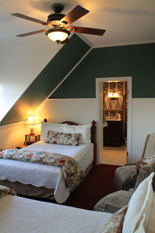 Two double beds makes the Adirondack room perfect for friends traveling together on a Vermont Vacation.
