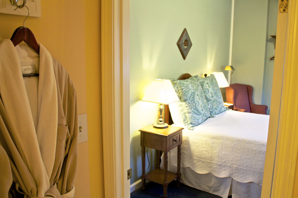 Soft Bathrobes hang inside the bath of Lindsey's loft, adding to the Cozy accommodations offered at Burlington, Vermont's willard Street Inn.