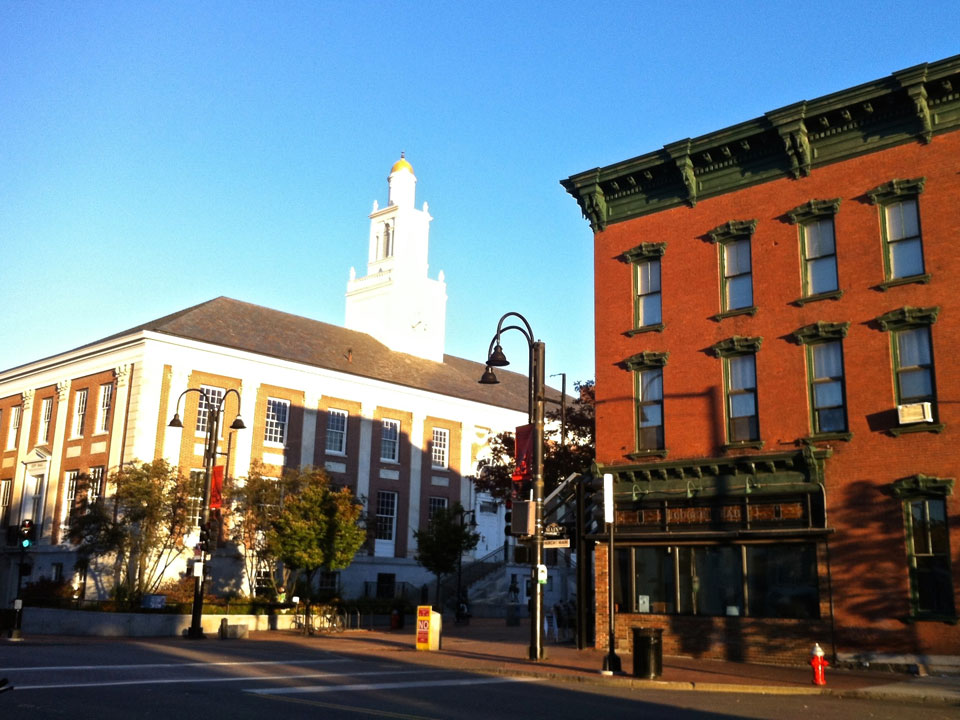 Downtown Burlington, Vermont, corner of Church St and Main St.