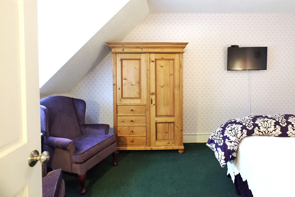 Pine Armoire of Periwinkle Room