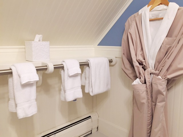 Soft bathrobes and plush towels welcome you to the Periwinkle Guest room.