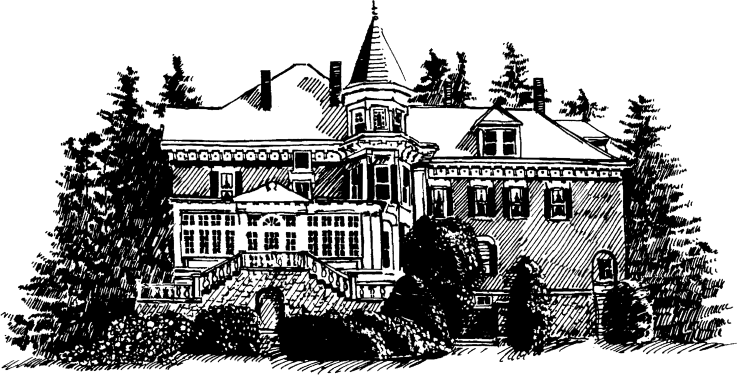 Drawing of West Side of Inn, featuring multi-paned solarium windows and tower, Willard Street Inn, VT