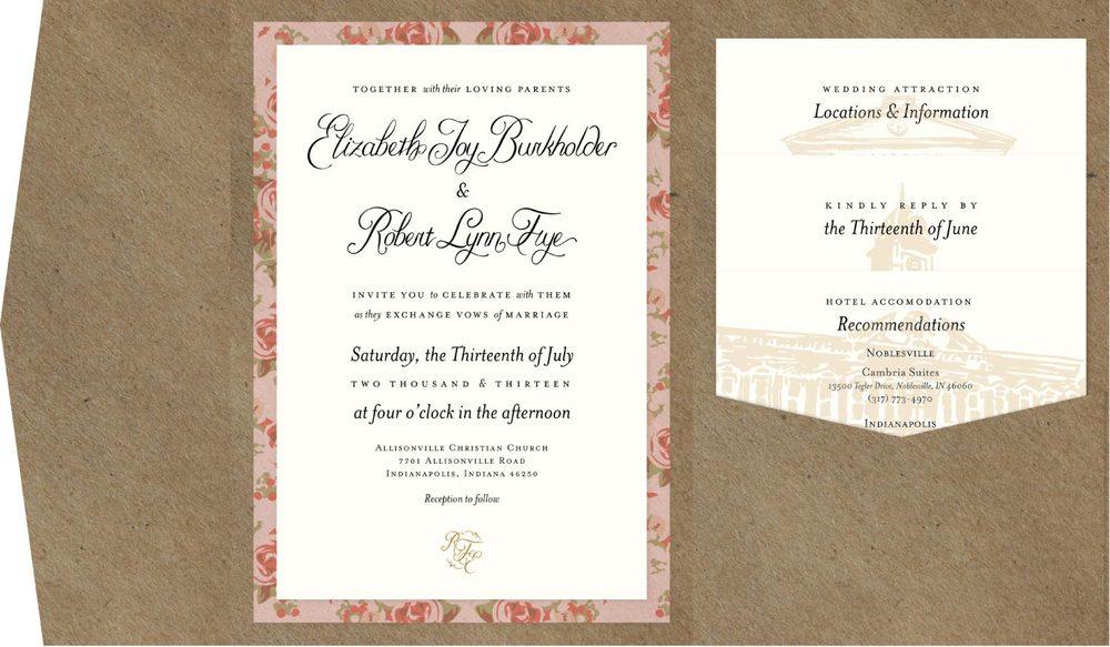 Vintage Floral Folder Invitation