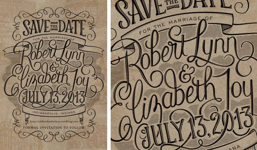 Custom Lettered Save the Date