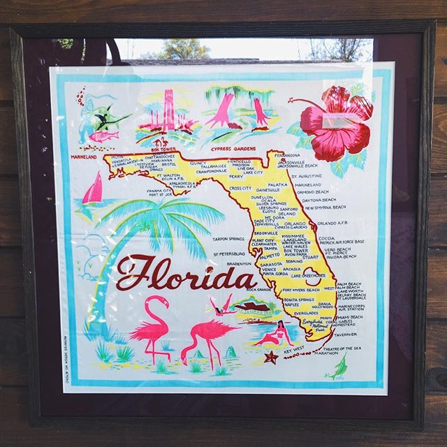 Vintage silk map of Florida with a custom drift wood frame job for @paul_sly 🌞🍊😍