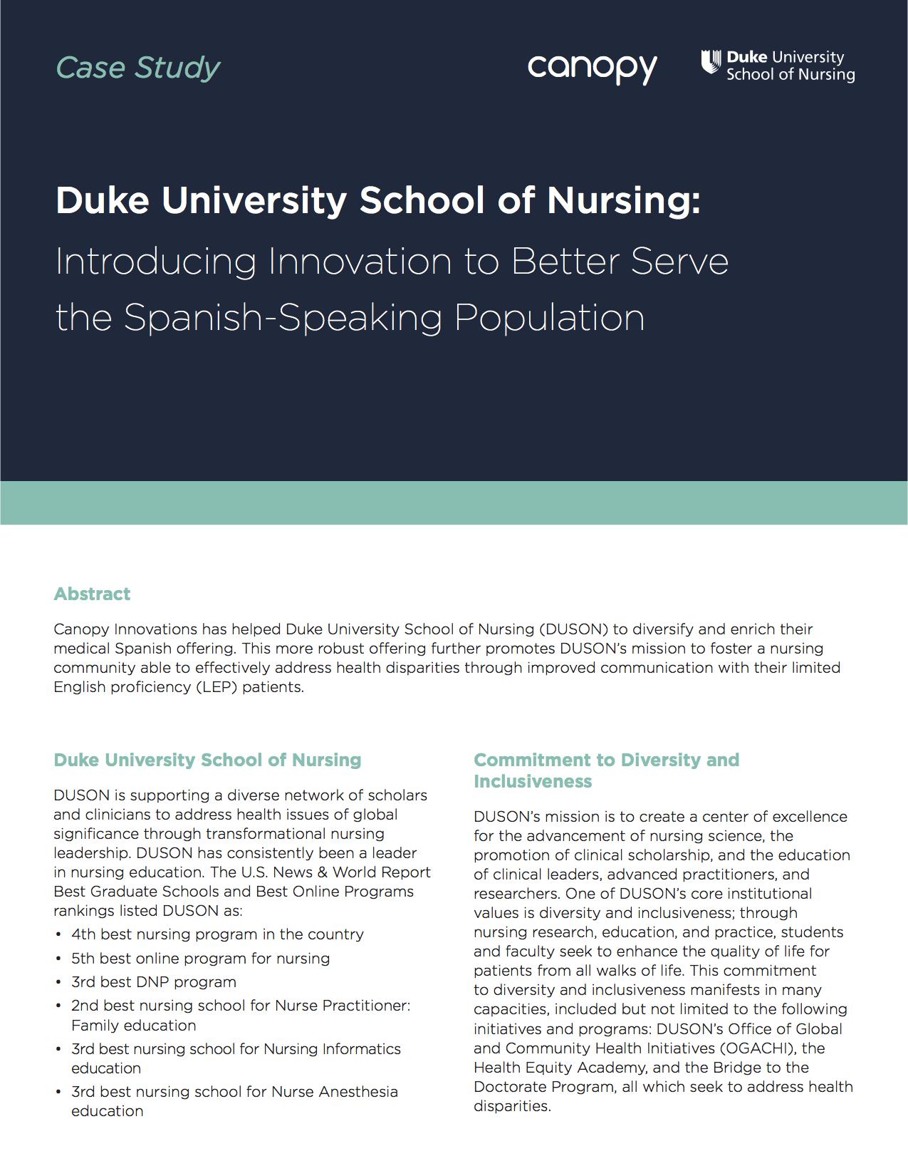 Duke University School of Nursing Uses Innovative Tactics to Better