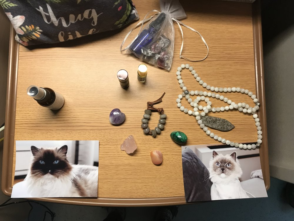 My birth altar: essential oils for both energy and calming. Crystals for birth. Pictures of my cats, one of whom passed away 4 weeks prior. Mala and beads made from her ashes.