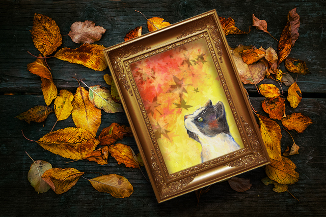 'Fall Feline' print by artist Kat Rodriguez