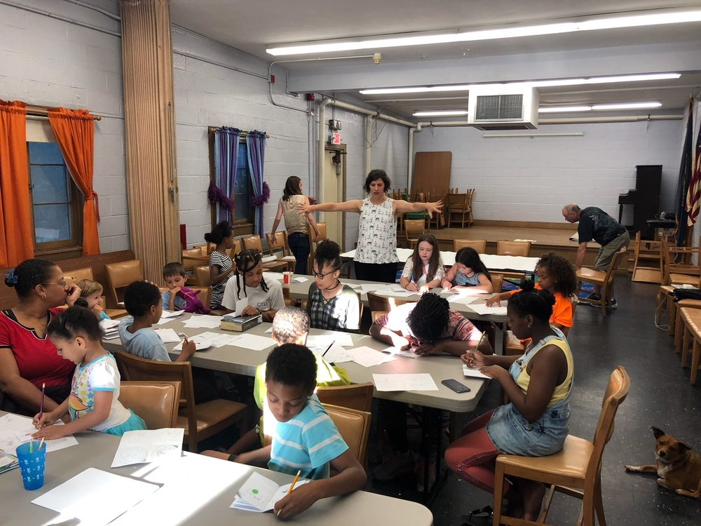 Doodle Rock Workshop, Adams Street Branch of the Boston Public Library, 2018  (Photo by Jonathan Bean.)