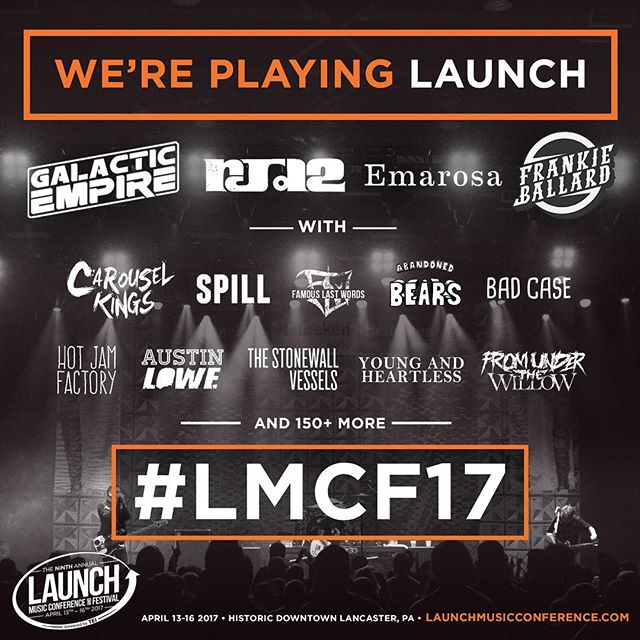 Hello humans. Next month we'll be playing Main Stage (Freedom Hall) at the infamous @launchmusicconference 2017. We play on opening night Thursday - COME HANG! Details below. #LMCF2017 #LAUNCH2017 . Location: Lancaster County Convention Center (Freedom Hall) . Show Time: 5:00 PM , 4/13/17