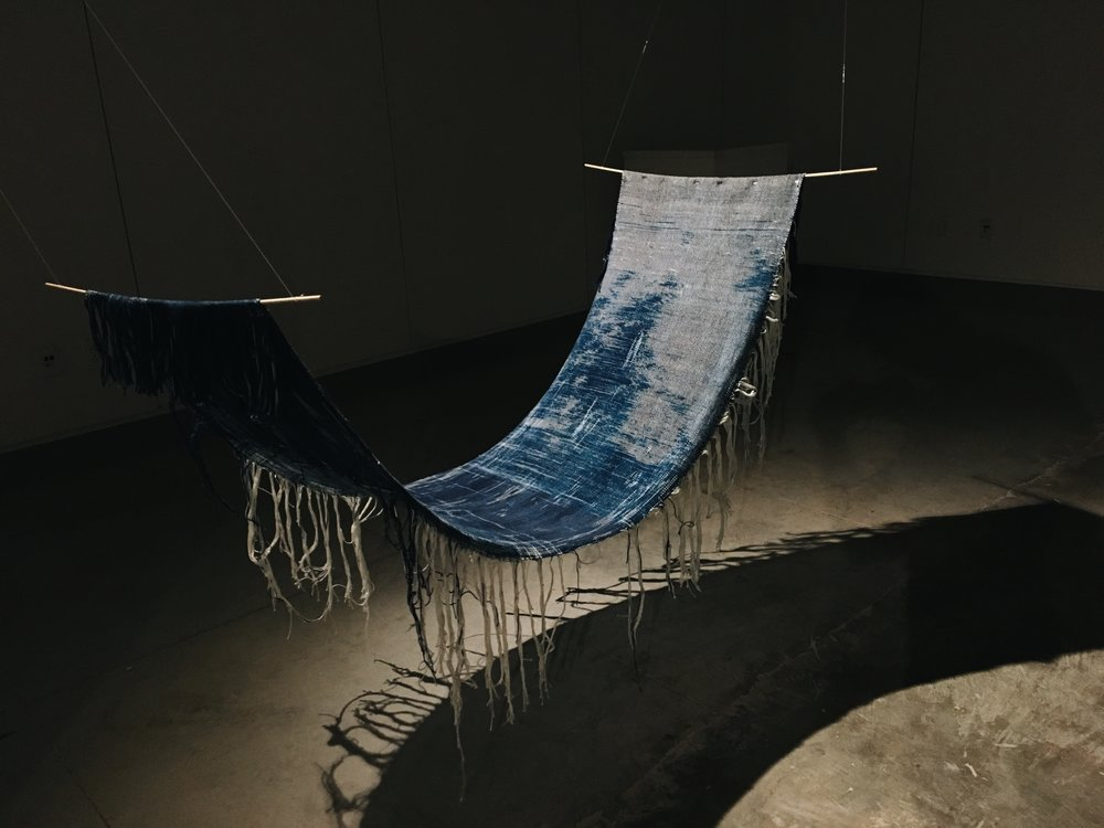 Java Sea  , 2017 Cotton cyanotype weft and Indigo  (Indigofera tinctoria)  warp Ikat   Gifted by J. Leeman for Ann Wessmann Collection