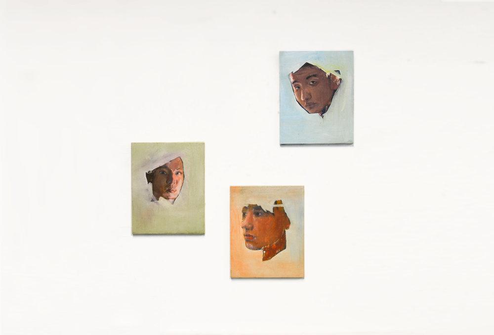 Portrait Studies I, II, & III  2014 Oil paint on wooden board