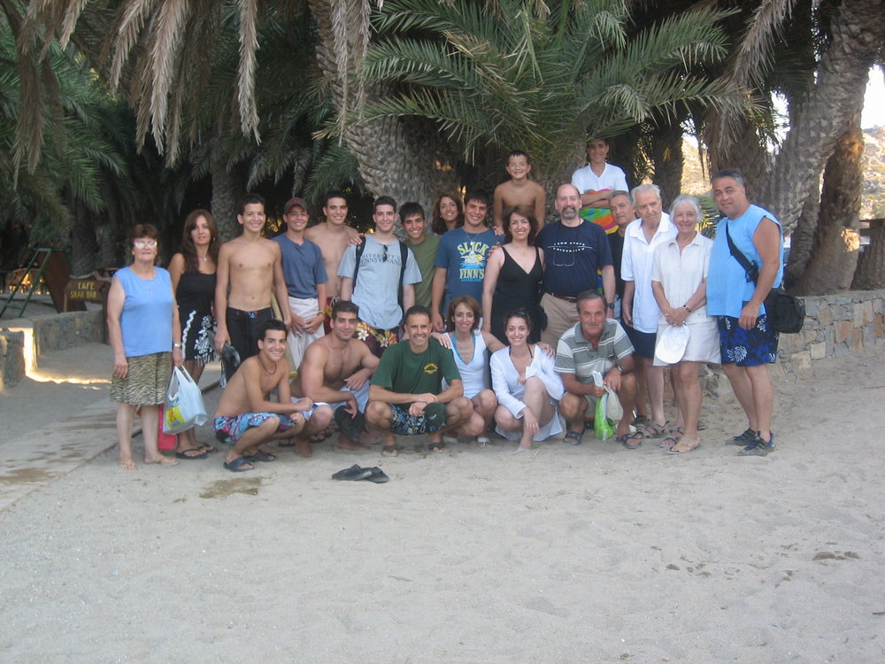 My big greek family traveling in a pack in Crete.  That's me in all white in the front row.