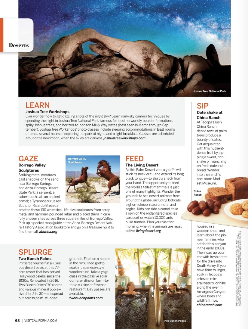 Featured in 2018 'Visit California' Magazine