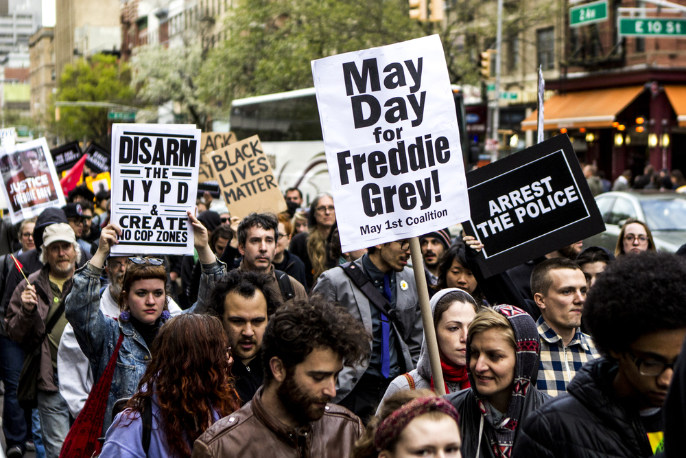 New York City protesters called for justice for Freddie Gray, who was killed while under police custody in Baltimore, on May 1, 2015. Shot for the    Village Voice.