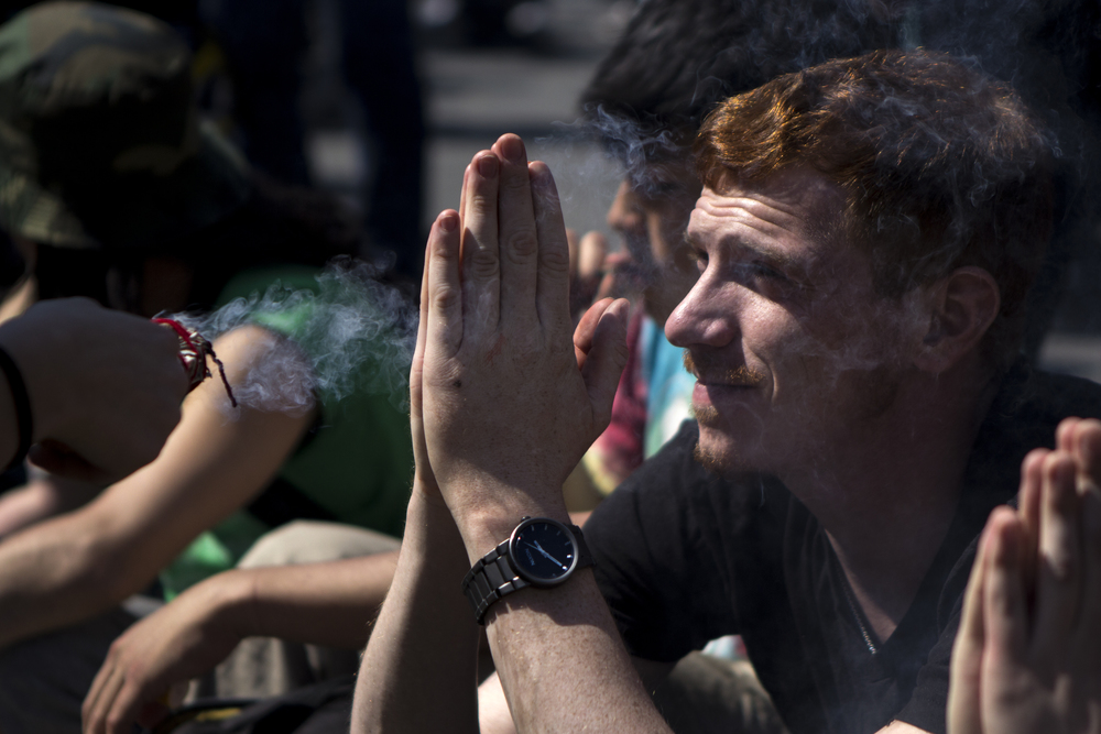 Hundreds gathered in Union Square, New York City, to advocate for legalized marijuana on May 2, 2015.    Shot for the Village Voice   .