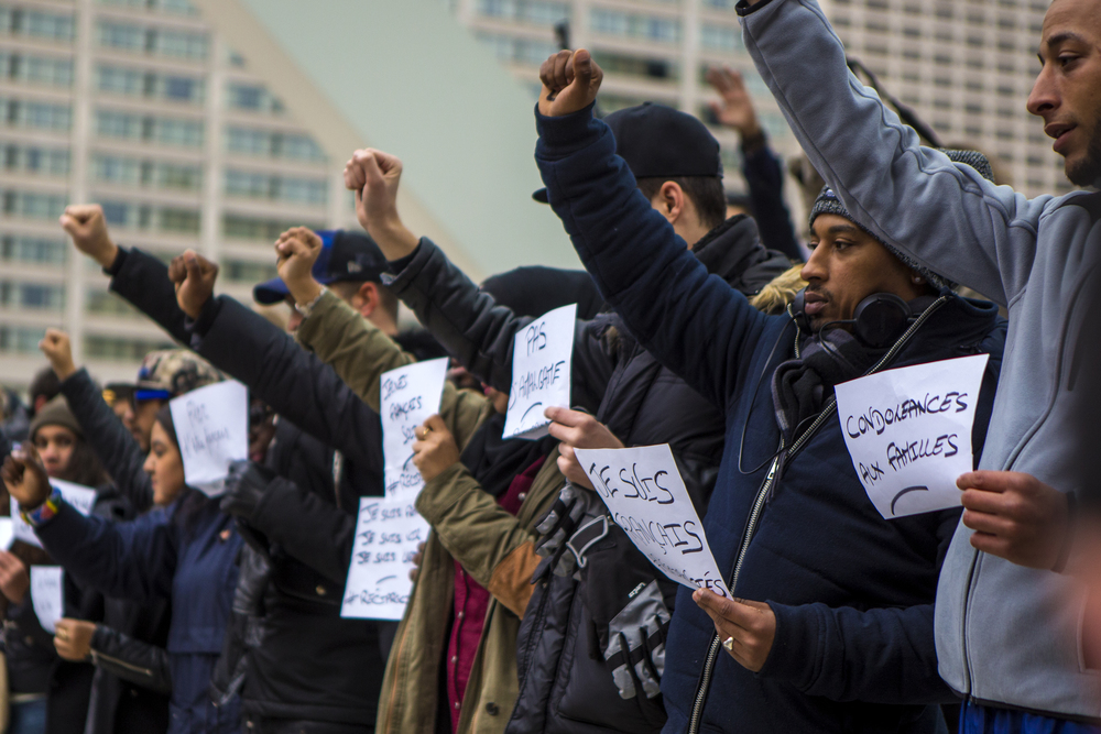 Hundreds came out to Toronto's Nathan Phillips Square on Nov. 14, 2015 to show support and send messages of solidarity with the people of Paris after the Nov. 13 terrorist attack that left 130 people dead.
