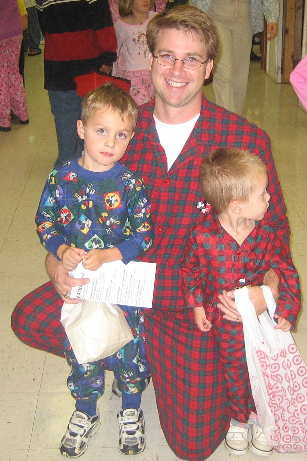 Jim with his sons at a 2005 Pajama Party