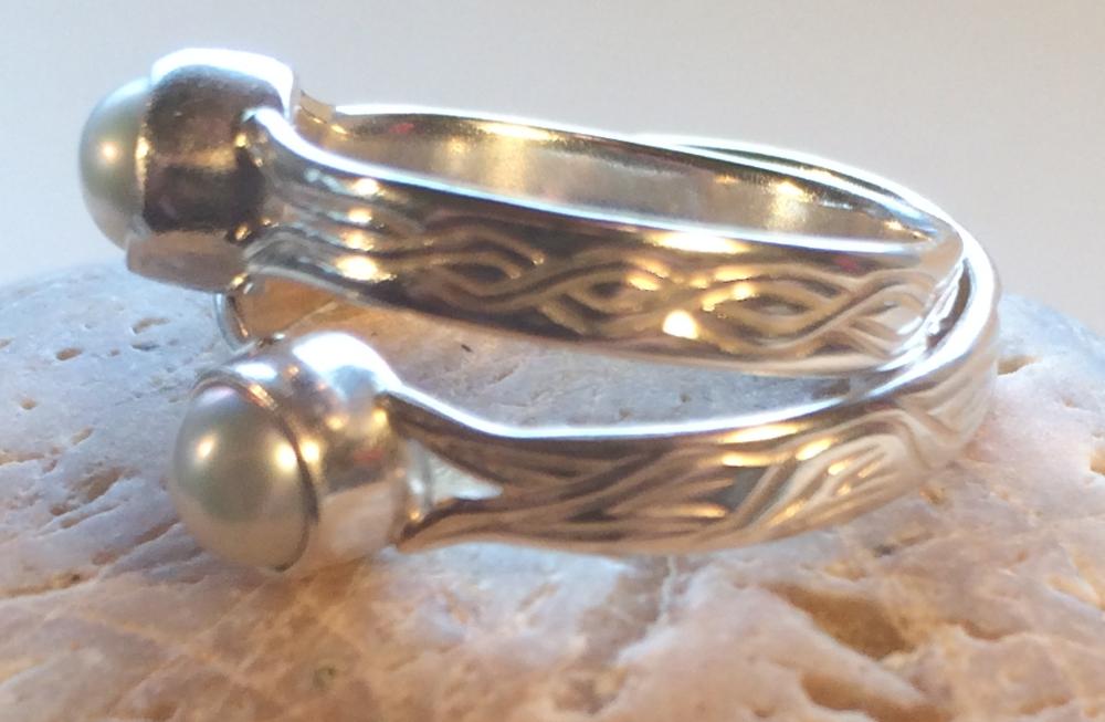 Engraved Pearl Rings