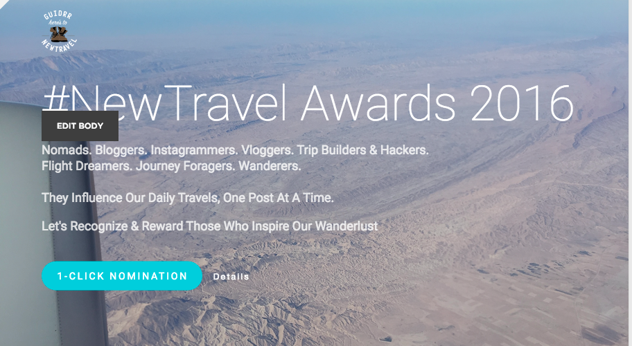 Happy Holidays - Give the gift of recognition to a travel influencer you admire this holiday season - Nominate them for the #NewTravel awards 2016
