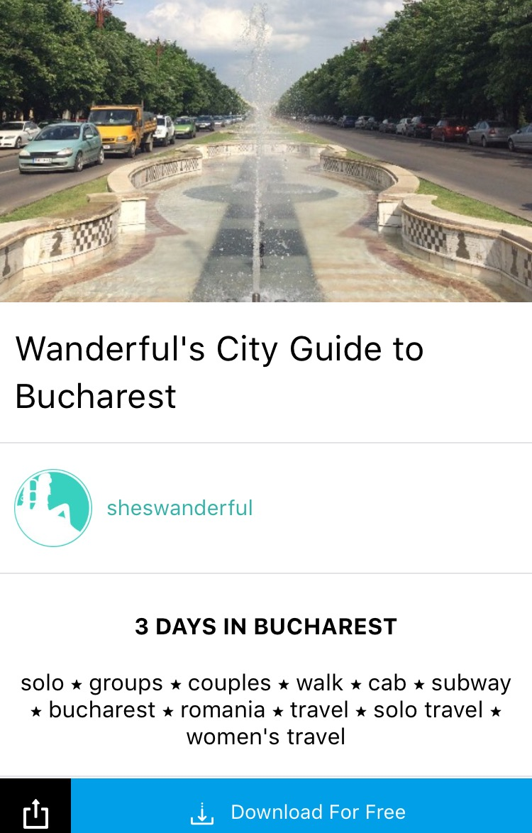 Download Wanderful's new City Guide to Bucharest for free on the free Guidrr iPhone app. Simply click on guide image, or click this link for us to text you a link to open the experience on your phone inside the Guidrr app.