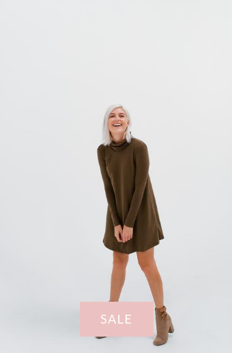 DRESSEMBER SWING DRESS IN BEECH OLIVE