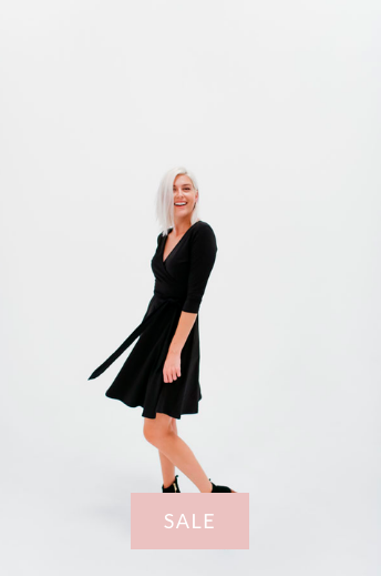DRESSEMBER WRAP DRESS IN BLACK