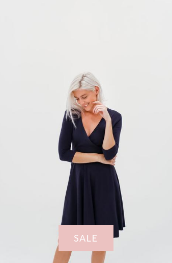 DRESSEMBER WRAP DRESS IN NAVY