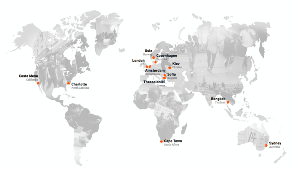 A21 has 12 locations in 11 countries