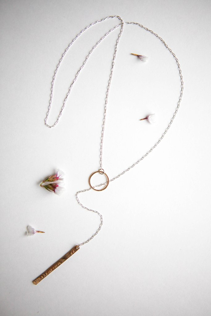 The next advocate to raise $1000 *claimed* - will receive the textured mixed metal lariat necklace from Branded Collective.