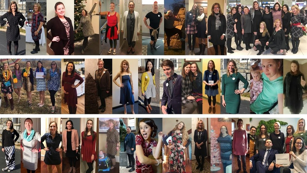 #dressember day one photos from HALF of Ruthann's team