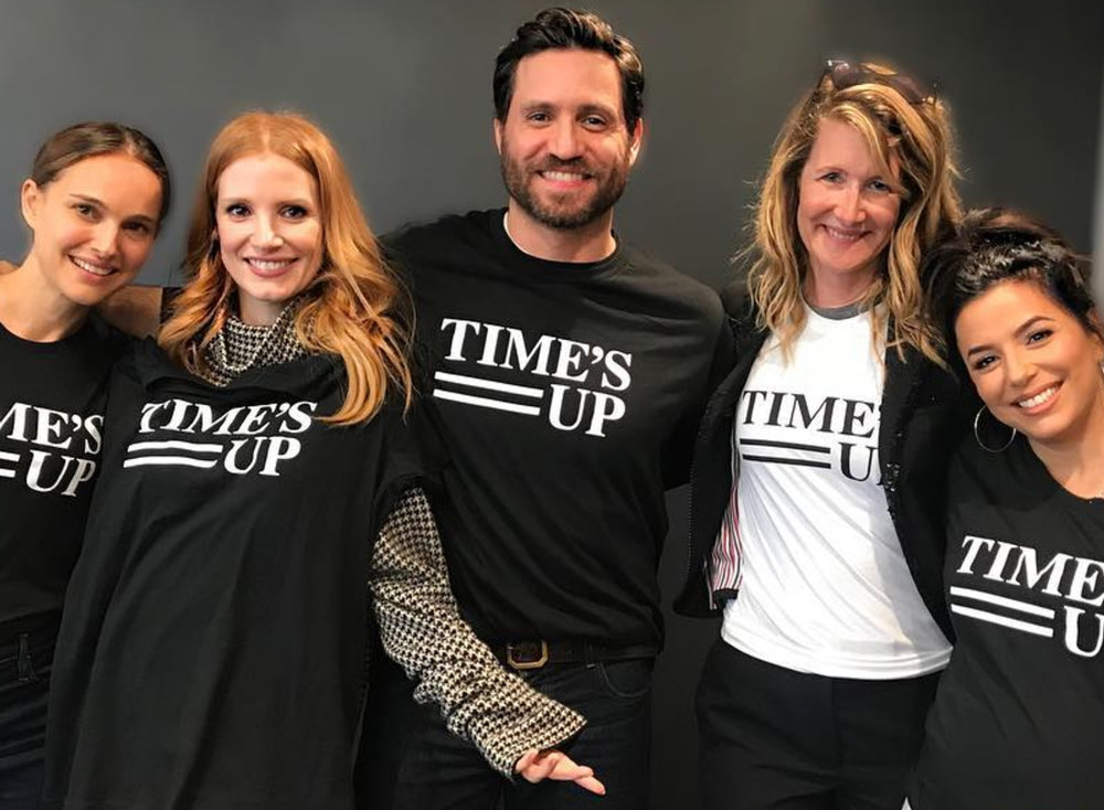 Natalie Portman, Jessica Chastain, Edgar Ramirez, and Laura Dern sporting their TIME'S UP merch. (PHOTO CREDIT:  @EDGARRAMIREZ25 AND @BRIELARSON /INSTAGRAM)