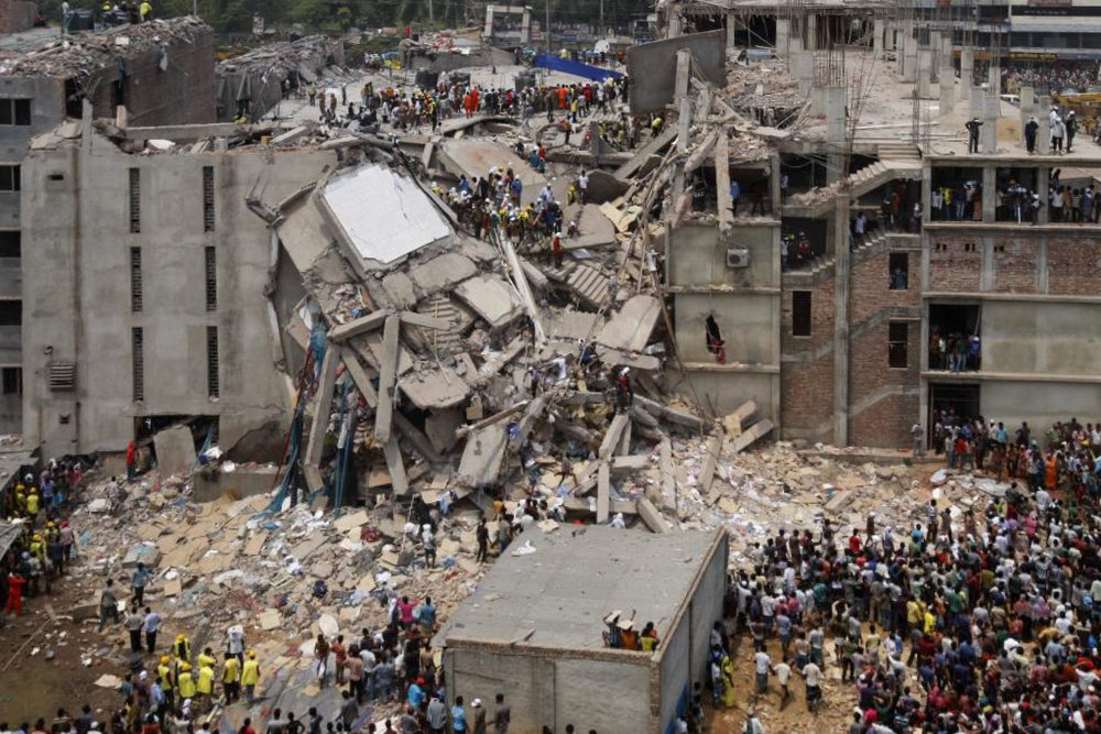 The Rana Plaza Collapse, pictured above, created worldwide outrage in 2013.