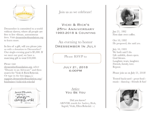 Vicki & Rick sent this invitation out to their friends and family prior to the event!