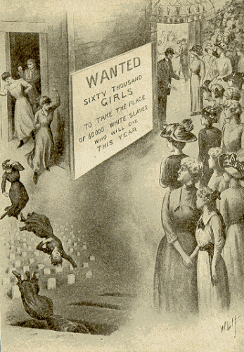 "PHOTO: Sign reads: ""WANTED: Sixty thousand girls to take the place of 60,000 white slaves who will die this year.""   http://www.nupoliticalreview.com/2018/03/02/a-notorious-traffic-a-history/"