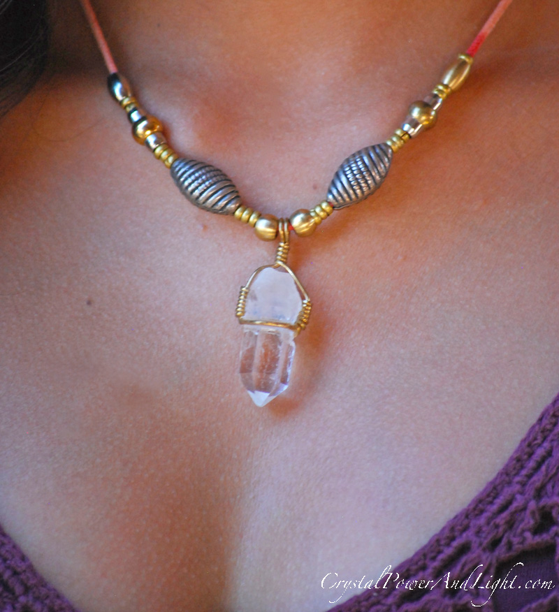 crystal power and light pendant necklace quartz crystals with beads