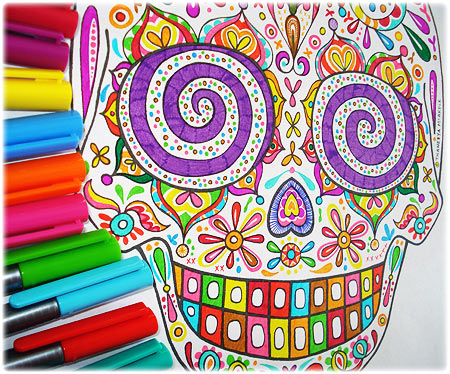 Colorful Sugar Skull Coloring Page