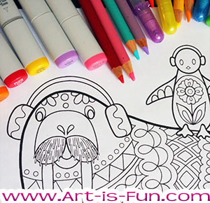 Printable Walrus Coloring Page by Thaneeya