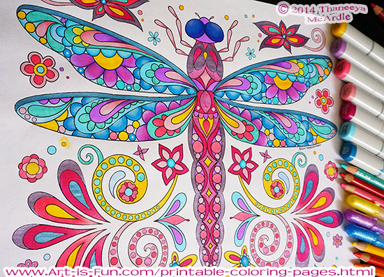 Dragonfly Coloring Page By Thaneeya