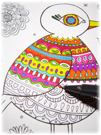 Folk Art Birds Coloring Pages Art is Fun